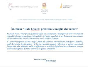 """Webinar """"Data breach: prevenire è meglio che curare"""""""